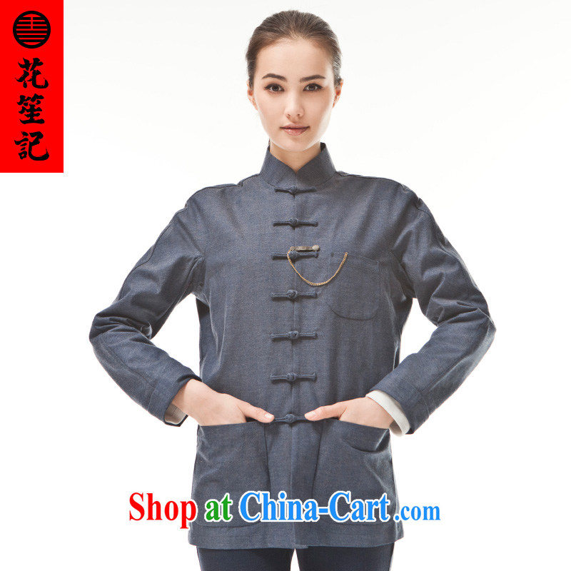 Take Your Excellency's wind cotton great Chinese, Chinese Ethnic Wind leisure-wear clothing retro jacket blue-gray _M_