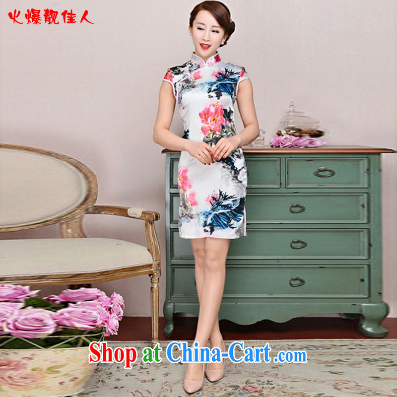 Hot beautiful lady summer 2015 new short cheongsam floral short sleeve low-power's Black on White Red Peony antique dresses White Red Peony XXL