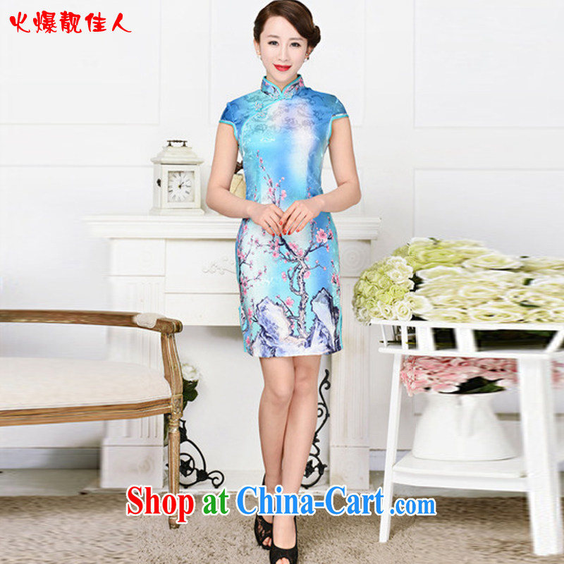 Hot beautiful lady summer 2015 new short cheongsam floral short sleeve low-power's Black on White Red Peony antique dresses blue Red XXL