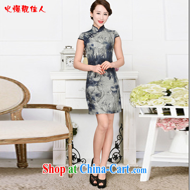 Hot beautiful lady 2015 new cheongsam dress stylish and refined antique cheongsam dress, in spring summer collections dresses blue collar Tibetan blue XXL