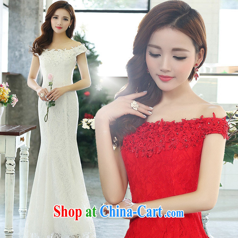 A field for sexy-yi long skirt at Merlion dress bridal evening dress uniform toast long moderator clothing bridesmaid HSZM 1515 red XL