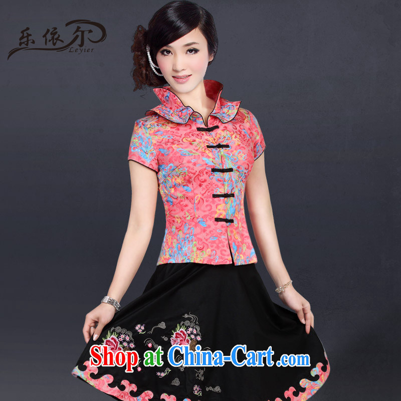 And, in accordance with modern improved package summer Chinese Antique large numbers daily female Chinese LYE 2817 red short-sleeved T-shirt + skirt XXL