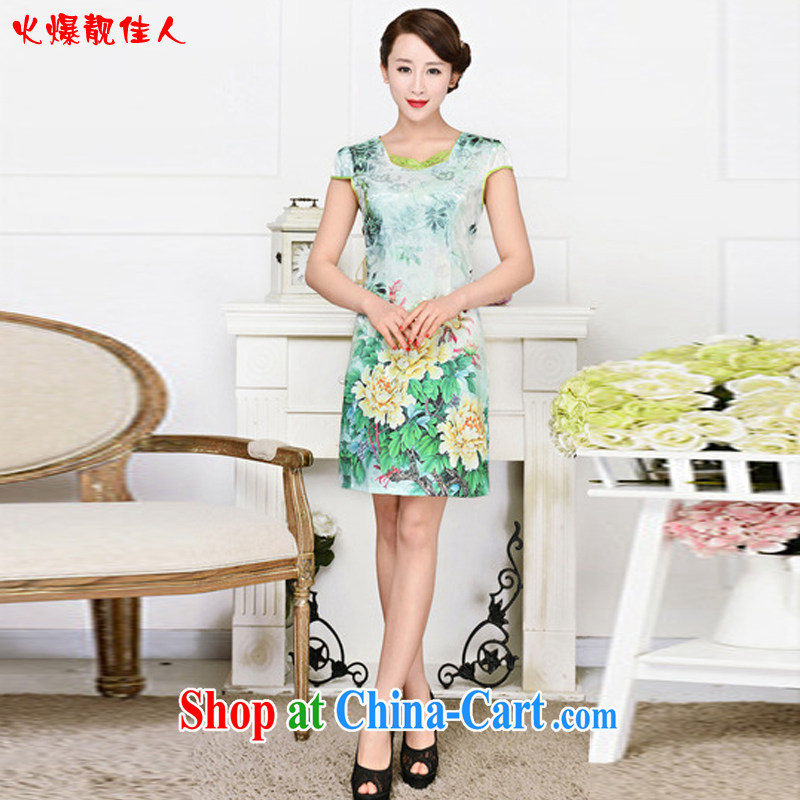 Hot beautiful lady summer 2015 new long-sleeved improved cheongsam retro art cotton flocking retro long cheongsam dress yellow Peony flower XXL