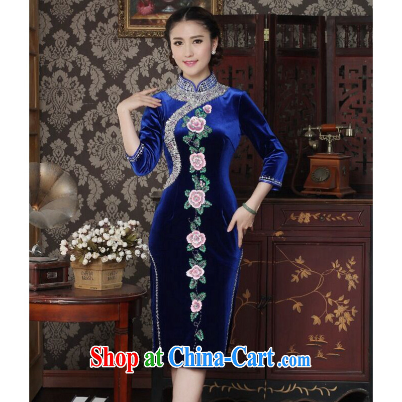 Take the cheongsam dress Chinese improved the collar wool manually the pearl elegant cheongsam embroidered banquet outfit cuff royal blue 3 XL