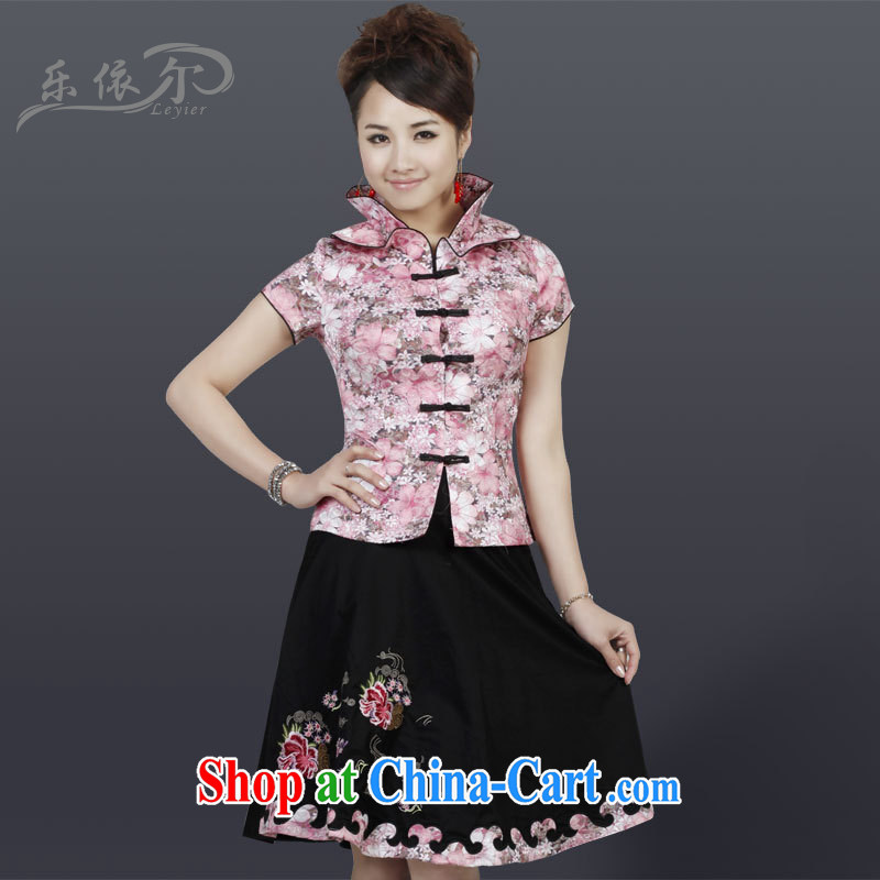 And, according to package Chinese daily Tang Women's clothes 7 cuff retro Kit 2817 LYE C pink T-shirt + skirt XXXL