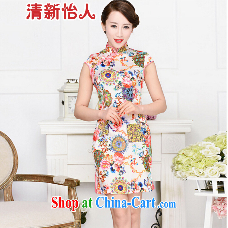 Refreshing new Ethnic Wind and elegant low the forklift truck serving toast improved cheongsam dress summer T-shirt dress girls pink white-collar peony flowers XXL