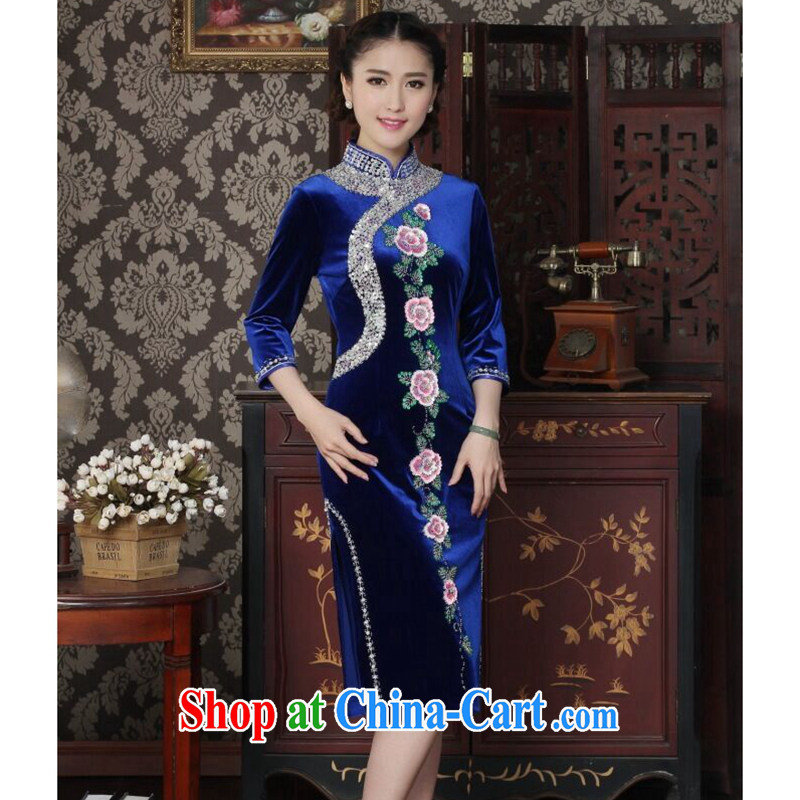 Dan smoke cheongsam dress Chinese improved the collar wool manually the pearl elegant cheongsam embroidered banquet outfit cuff royal blue 2 XL
