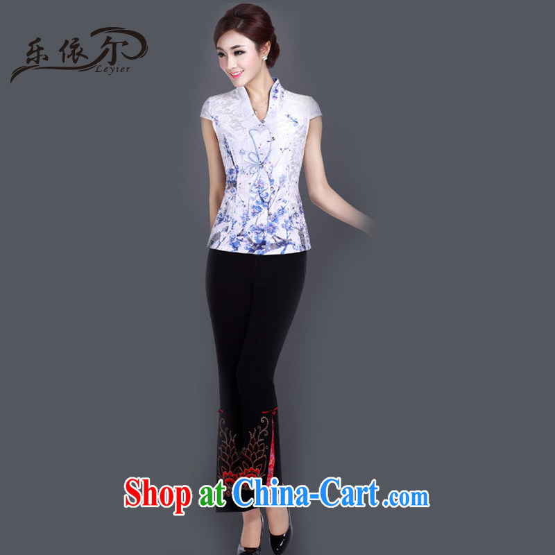 And, according to Mr TANG with new Ethnic Wind retro elegant personalized improved short-sleeved Tang replace LYE 1366 white T-shirt + pants XXL