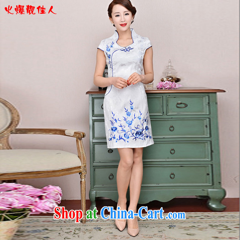 Hot beautiful lady 2015 New Beauty blue and white porcelain cheongsam dress improved stylish daily short girl cheongsam dress white orchids XXL