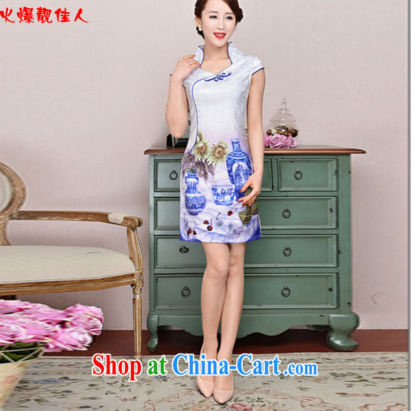 Hot beautiful lady 2015 new beauty, blue and white porcelain cheongsam dress improved stylish daily short, female cheongsam dress white blue and white porcelain flower XXL