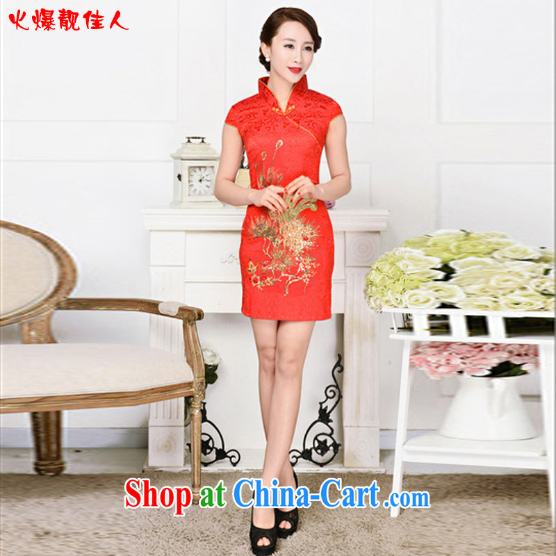Hot beautiful lady 2015 summer National wind Phoenix embroidery red wedding dresses spring dresses short red phoenix spend XXL
