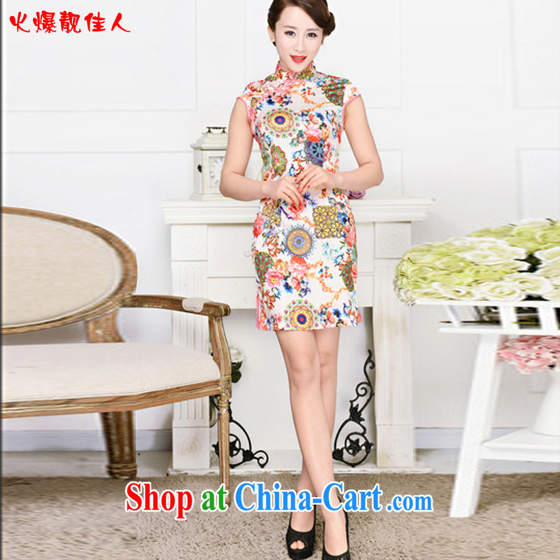 Hot beautiful lady 2015 new summer housing stamp duty cultivating retro improved stylish everyday cotton girl short cheongsam dress pink collar, peony flowers XXL