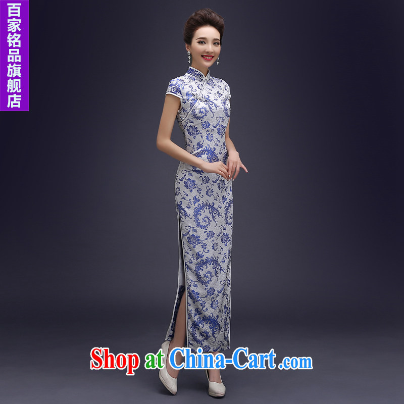 Blue and white porcelain cheongsam dress spring 2015 new improved stylish daily long, the forklift truck cheongsam dress dresses beauty blue suit the forklift truck L