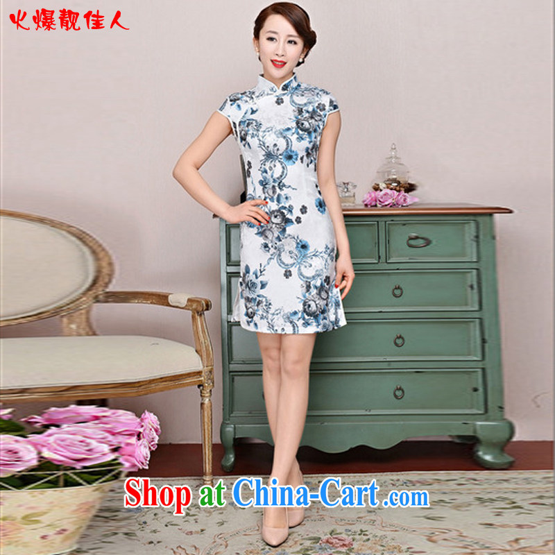 Hot beautiful lady 2015 new daily outfit 5 color paintings Chinese stamp retro, spring and summer with stylish improved cheongsam dress style white Peony blue sunflower XXL