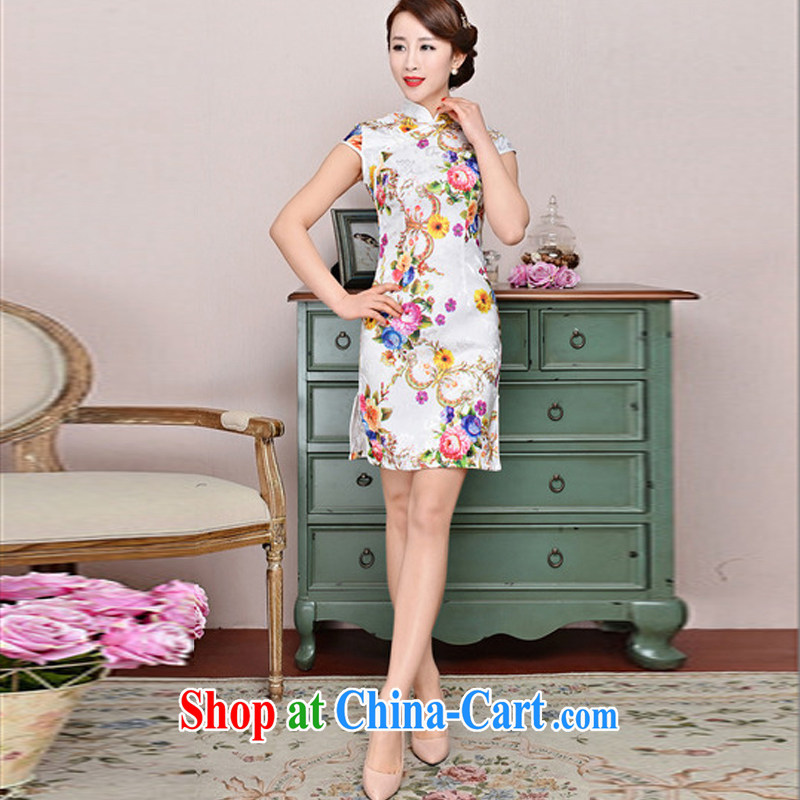 Hot beautiful lady 2015 new daily outfit 5 color paintings Chinese stamp antique dresses, Spring Summer fashion cheongsam dress style white Peony yellow sunflower XXL