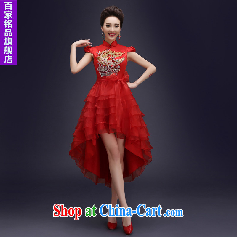 cheongsam dress spring 2015 new bridal dresses Chinese wedding toast service improved retro dresses short red red S