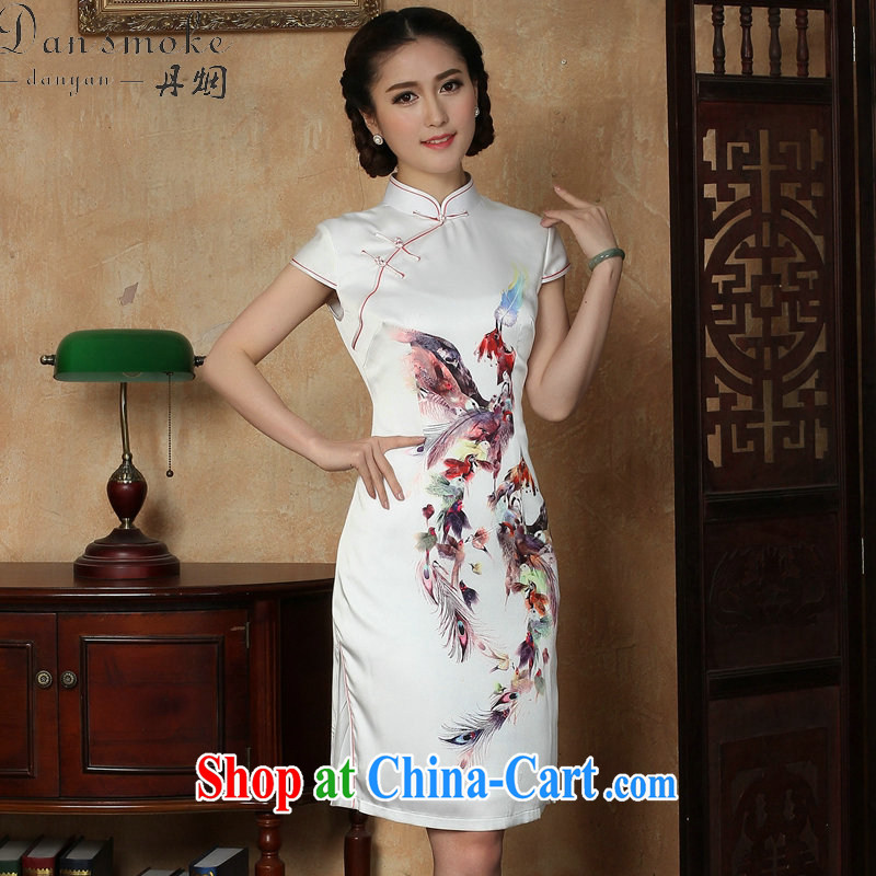 Dan smoke summer new cheongsam dress Phoenix emulation, Chinese improved, for everyday elegant short cheongsam dress such as the color 2 XL