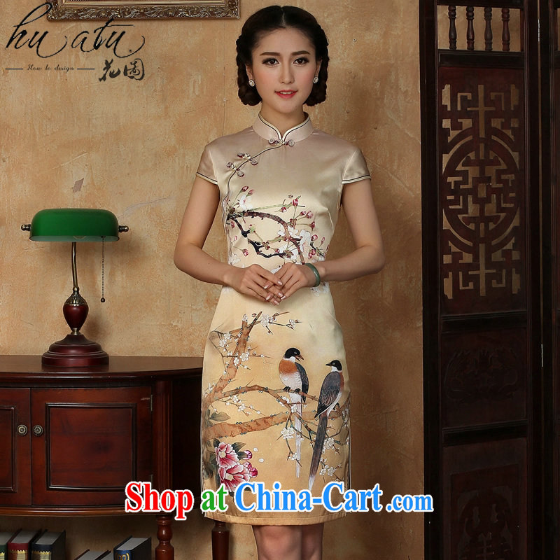 Take the female summer Silk Cheongsam golden, for a tight flower Magpies silk improved sauna short Silk Cheongsam SHOWN IN FIGURE 3XL