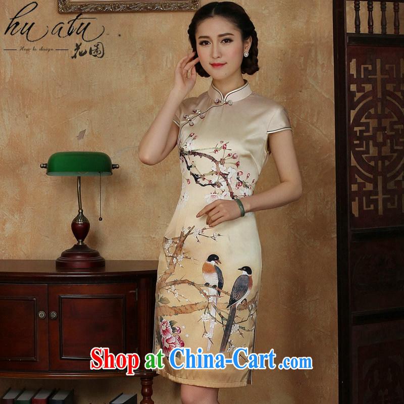 Take the female summer Silk Cheongsam golden, who is a hard-pressed flower Magpies silk improved sauna Silk Cheongsam short figure 3XL, flowers, and, online shopping
