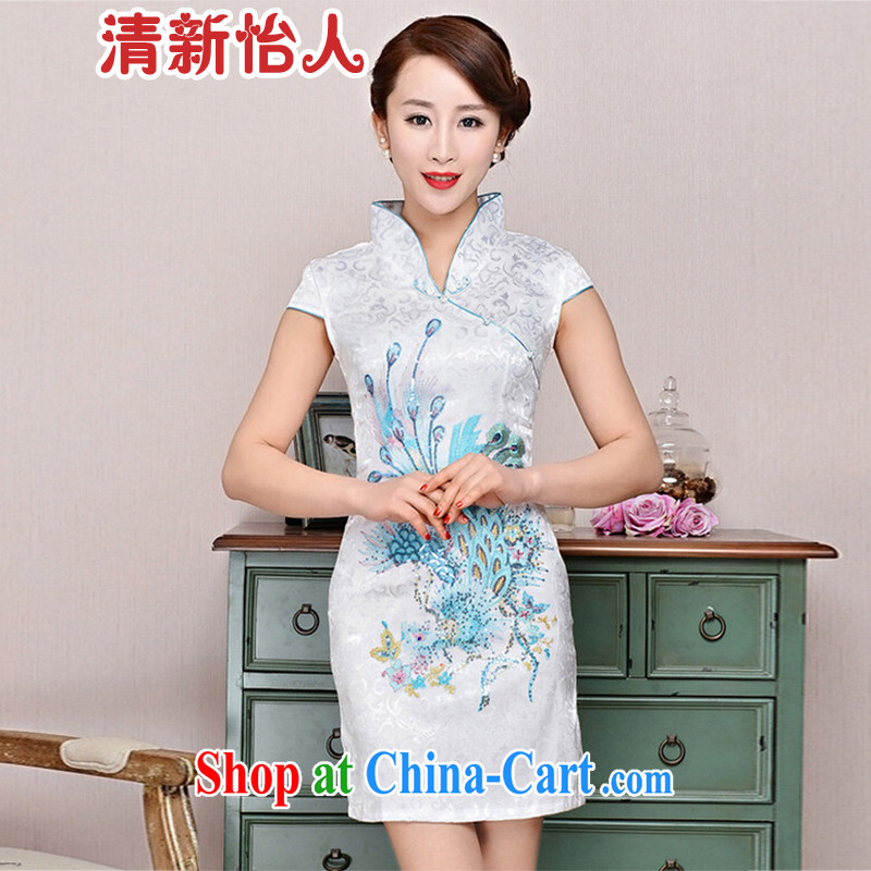 Refreshing new Ethnic Wind elegant low the forklift truck serving toast improved cheongsam dress summer T-shirt dresses female white Phoenix orchids XXL