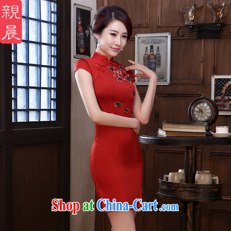 pro-am 2015 new daily retro sauna silk spring and summer short stylish improved cultivating high quality silk cheongsam short 3 XL