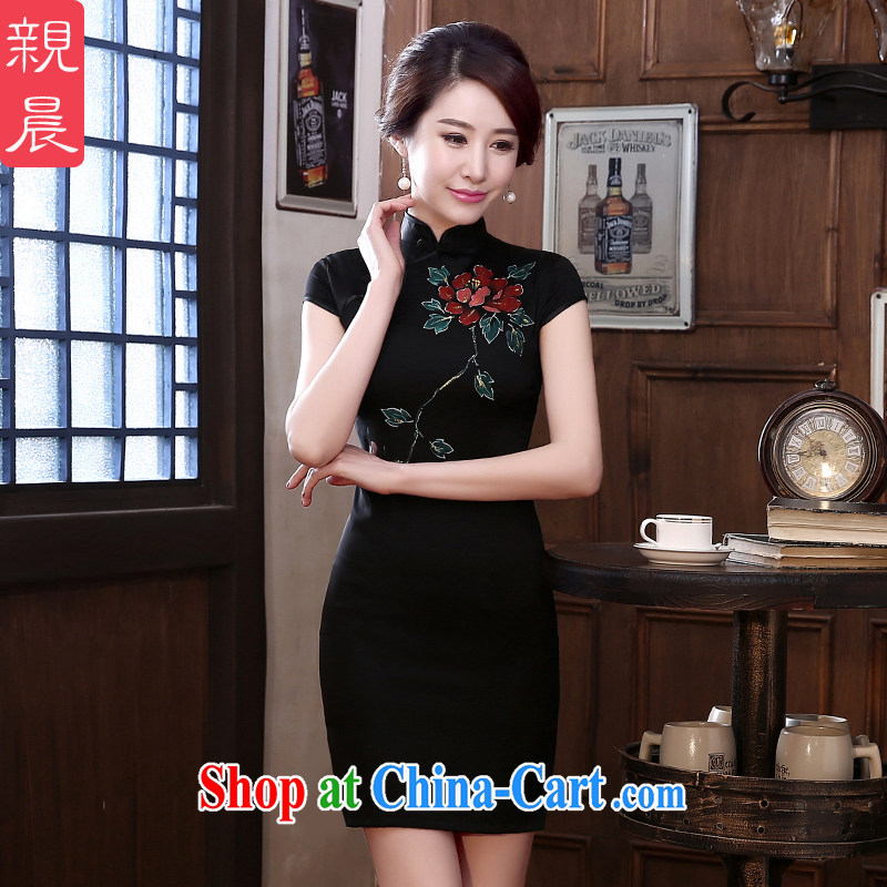 pro-am 2015 New Spring Summer silk retro daily short improved stylish upmarket sauna beauty Silk Cheongsam Short M