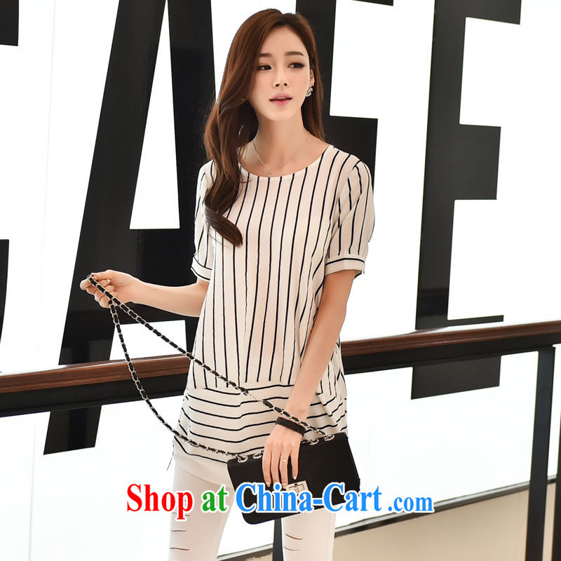 Ya-ting store 2015 summer new Korean female loose bars in long female round-collar short-sleeve shirt T girls T-shirt white XL