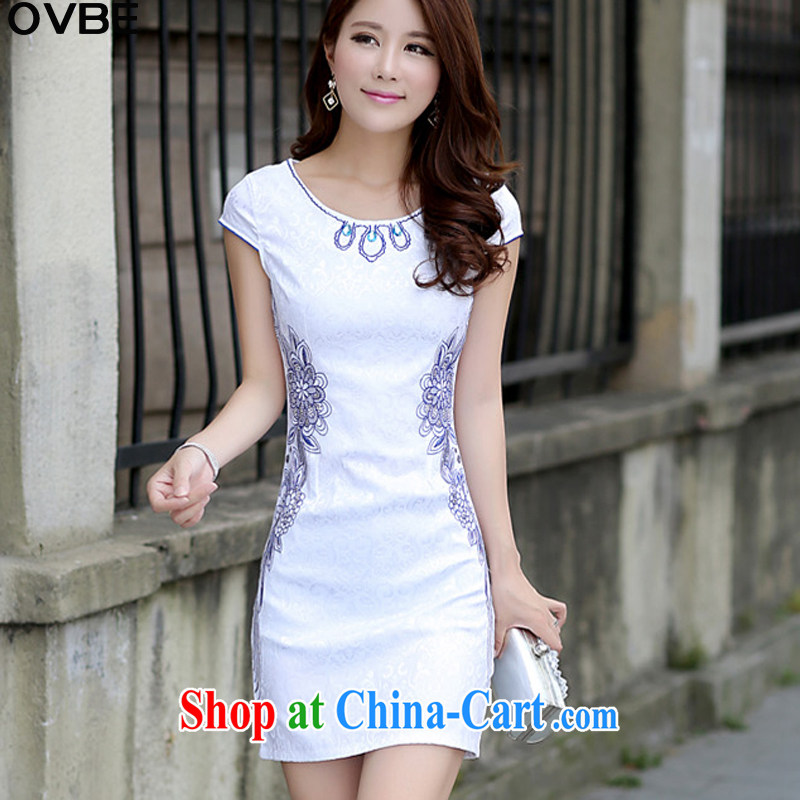 OVBE Korean version 2015 summer new cultivating short-sleeved stamp Chinese qipao package and dresses girls blue XL