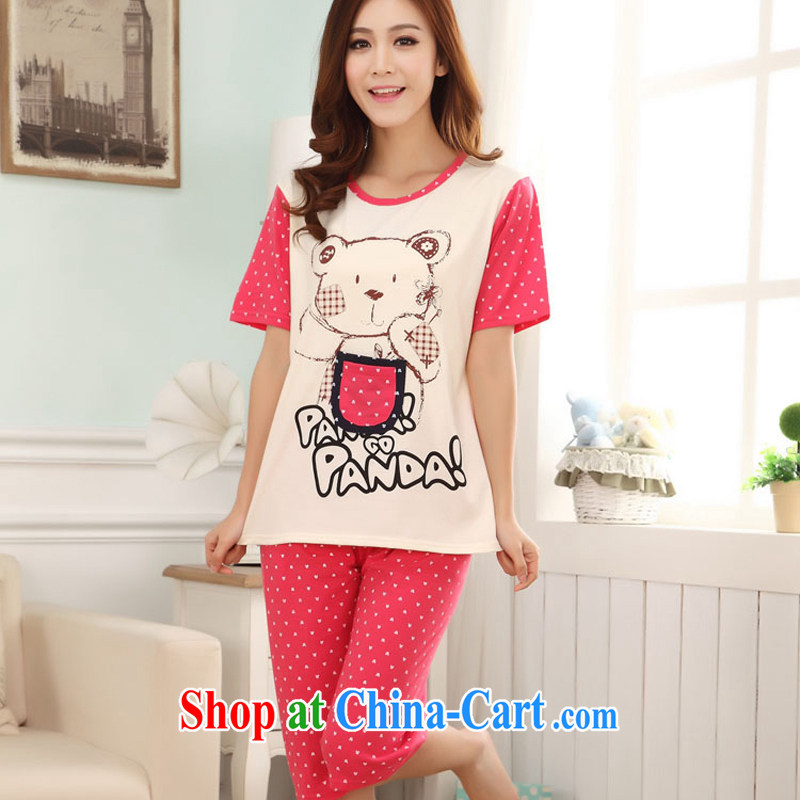 Badminton World Summer new cotton short-sleeved pocket bear pajamas home service package FA 1013 - 6652 CR red M