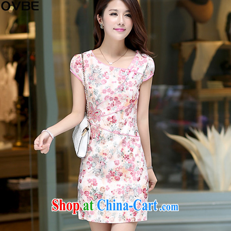 OVBE Korean version 2015 summer new short-sleeved round neck stamp style cheongsam package and dresses girls pink XL