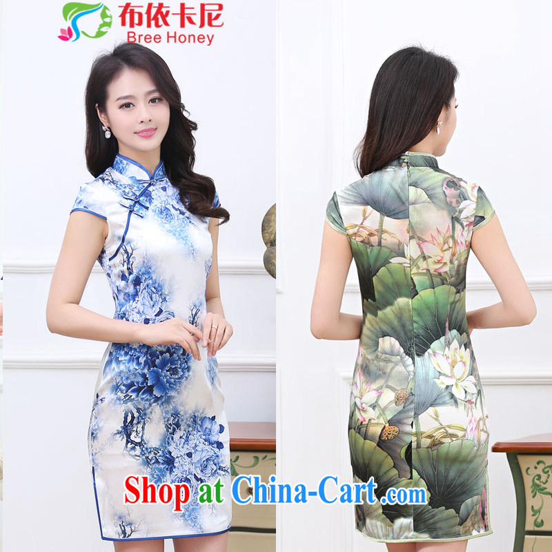 In the summer 2015 new Stylish retro beauty dresses blue lady high stamp duty mulberry silk silk dresses the code package mail 1034 blue and white porcelain XXL