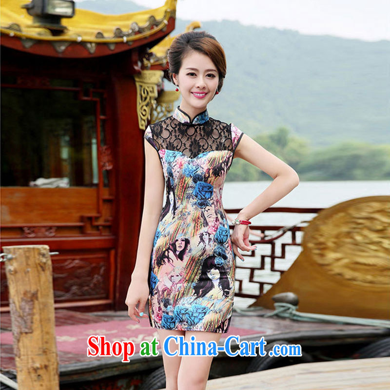 Nest, summer 2015 women's clothing new Chinese Short package and cultivating the forklift truck cheongsam dress beauty figure