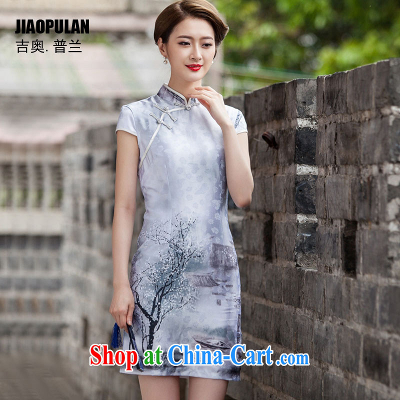 Mr. Kaplan 2015 spring and summer New Classic short-sleeved cheongsam dress retro fashion China Daily, qipao PL 1107 painting S