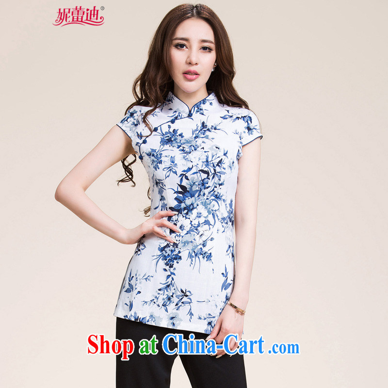 Connie's clay spring 2015 New China wind cotton mA short-sleeved elegant antique style beauty improved Chinese qipao T-shirt 4575 white XXL