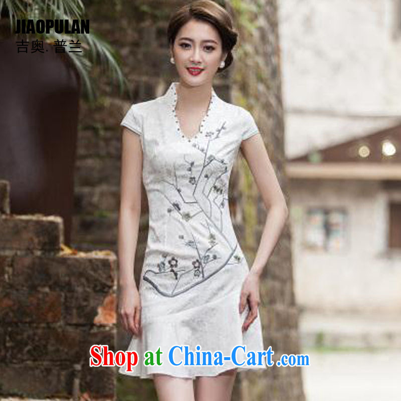 Mr. Kaplan 2015 spring and summer new short-sleeved V collar embroidered Phillips nails Pearl crowsfoot skirt with embroidery short cheongsam improved dresses PL 1123 white XL