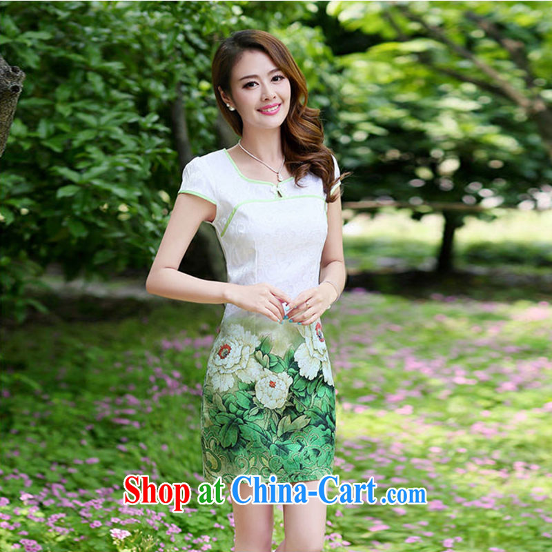 Nest, summer 2015 with new female-waist stamp retro improved short-sleeve package and cheongsam dress green Peony flower XXL