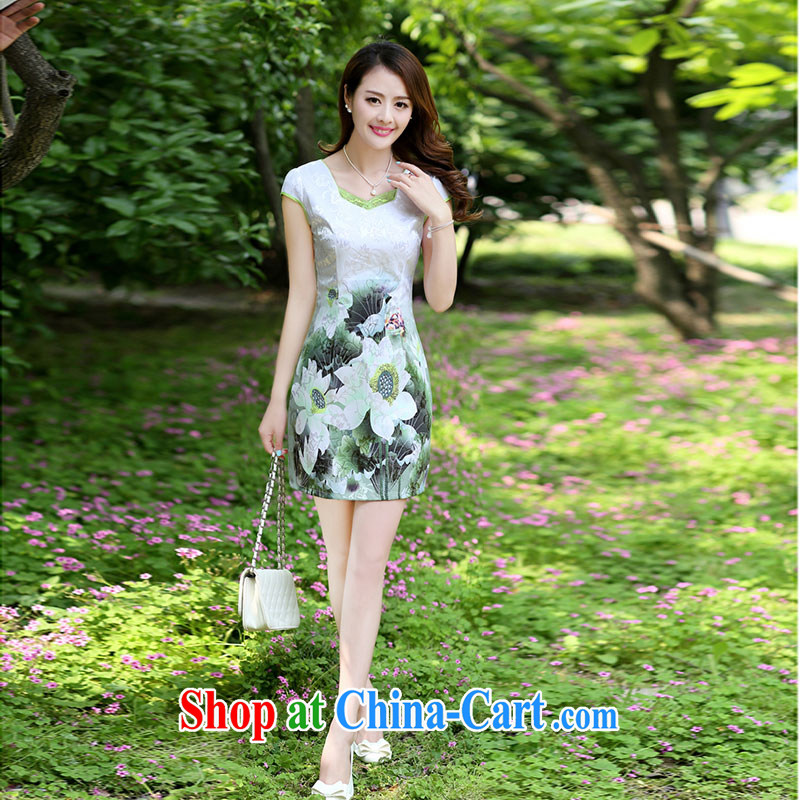 Nest, summer 2015 ladies' new improved retro embroidery stamp beauty package and cheongsam dress Green lotus XXL