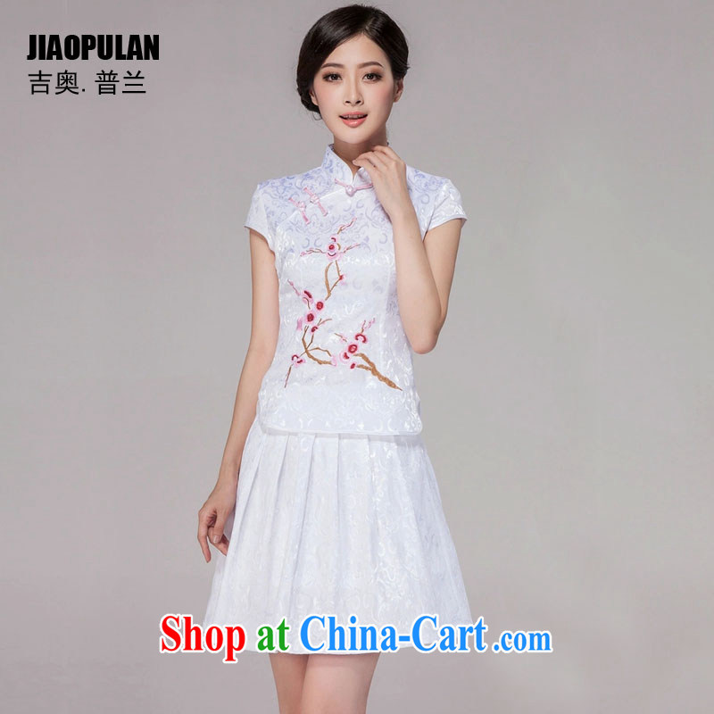 Mr. Kaplan 2015 spring and summer New Tang with improved daily cheongsam dress retro style modern two-piece load PL 1125 white XL