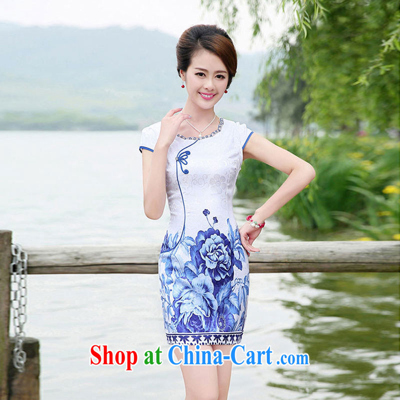 Nest, summer 2015 with new, blue and white porcelain short-sleeved cultivating cheongsam dress, spend XXL