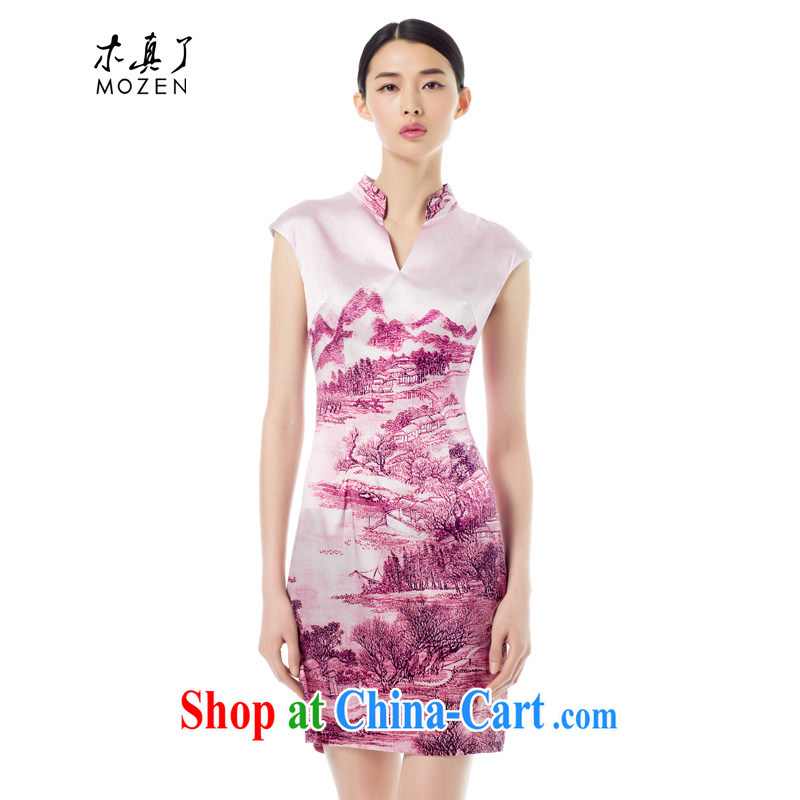 Wood is really the MOZEN 2015 spring and summer new Chinese, for cultivating poster landscape Silk Cheongsam short 42,812 09 light coffee-colored XXL (A)