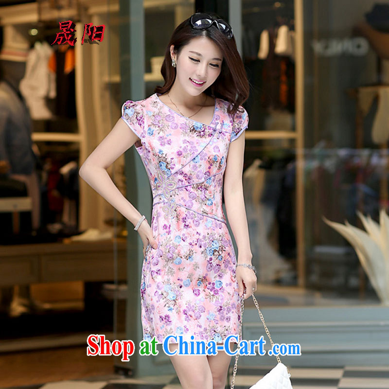 Sung Yang 2015 summer new Korean Beauty package the need for floral embroidered Stylish retro ladies short sleeve cheongsam dress pink XL, Sung-yang (shengyang), online shopping