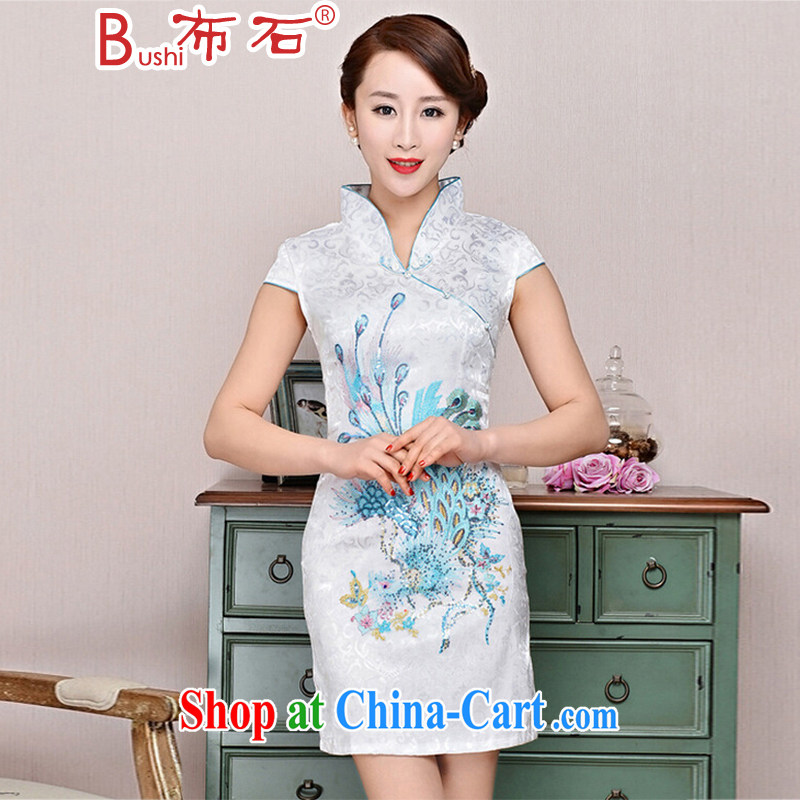 The stone new Ethnic Wind elegant low the forklift truck serving toast improved cheongsam dress summer T-shirt dresses female white Phoenix orchids M