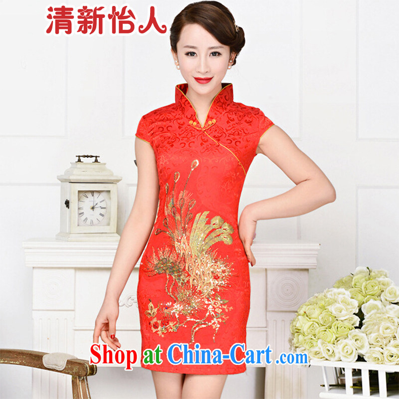 Refreshing new Ethnic Wind elegant low the forklift truck serving toast improved cheongsam dress summer T-shirt dresses female red phoenix spend M