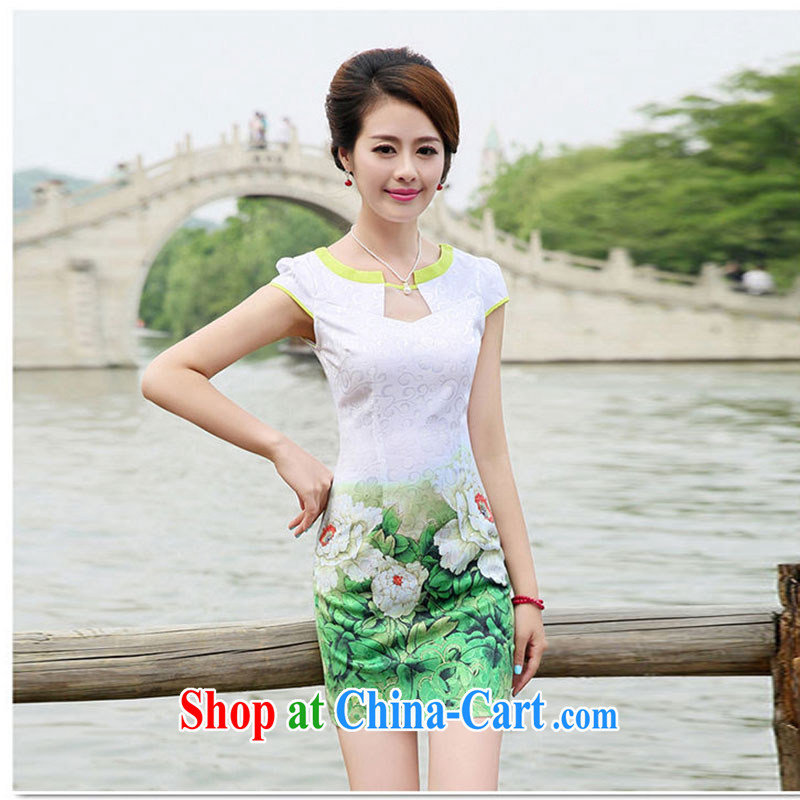 Nest, summer 2015 new women's clothing graphics thin improved package and a short-sleeved-waist stamp antique cheongsam dress pink peony flowers XXL