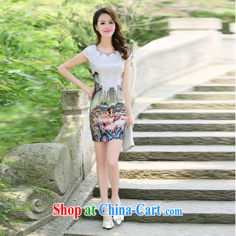 Nest, summer 2015 women short-sleeve embroidery stamp improvement package and dresses dresses gold beauty figure XXL