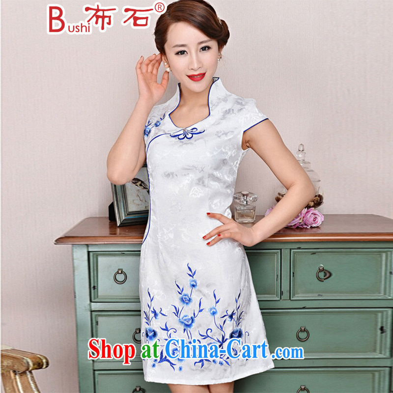 The stone new Ethnic Wind elegant low the forklift truck serving toast improved cheongsam dress summer T-shirt dresses female white, small flowers M
