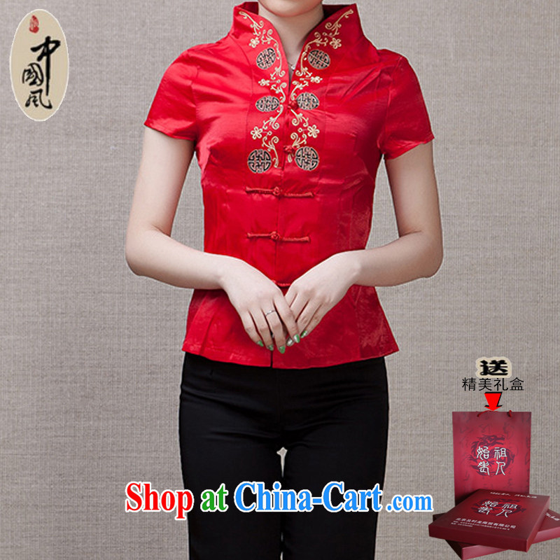 Adam 15 elderly Ms. summer short-loaded field marriage short-sleeved Chinese China wind female national costumes Y 013 red/6 hi 2 XL