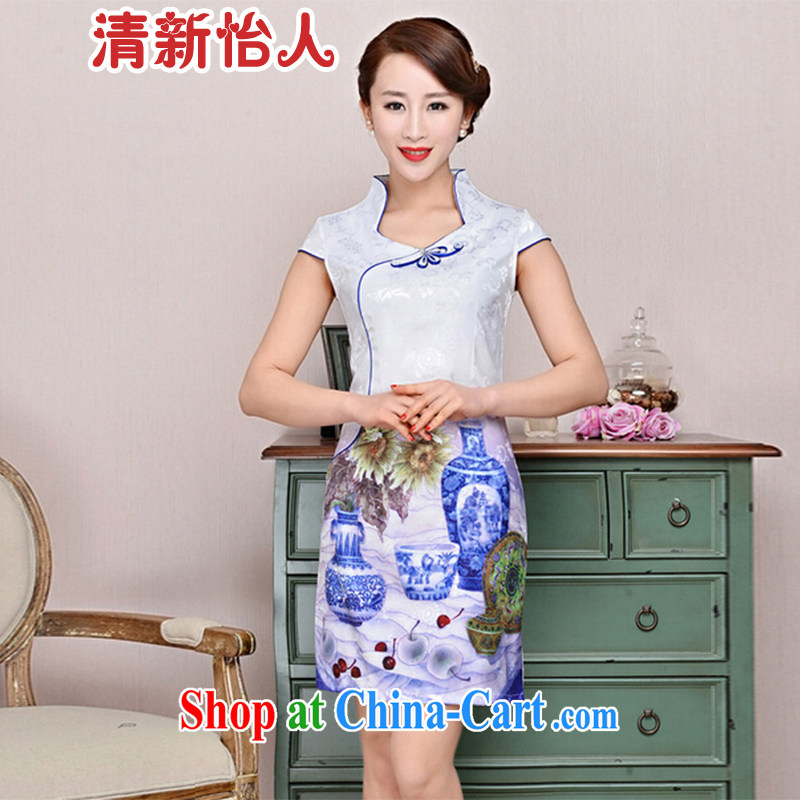 Refreshing new Ethnic Wind elegant low the forklift truck serving toast improved cheongsam dress summer T-shirt dresses female white porcelain was M