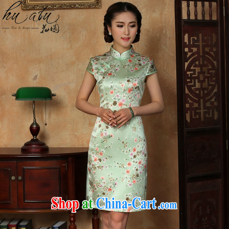 spend the summer wear cheongsam dress new Chinese improved light up collar silk Phillips sauna silk short cheongsam dress such as the color 2 XL