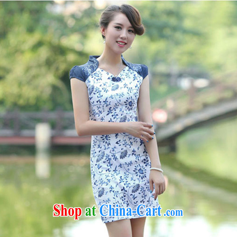 Nest, summer 2015 with new female Chinese improved cultivating jacquard stretch cheongsam dress small flowerpots XL